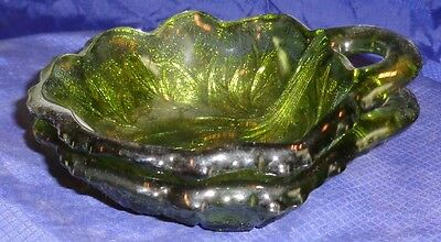 RP1744 Vtg Depression Glass Green Staking Candy Dish x2