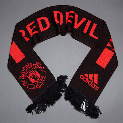 Man Utd Official Licensed Adidas Scarf Black New