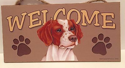 Welcome Brittany Spaniel Dog Breed Wood Sign Plaque New