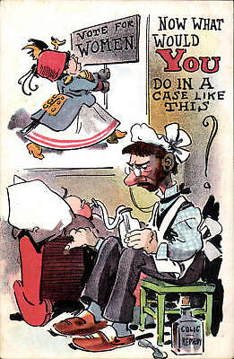 Suffragette Comic. Now What Would You Do? in Series 680. Baby Bottle.