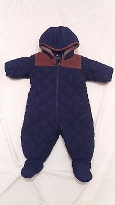 designer next baby boys navy quilted fleece lined winter snowsuit 3-6m iMac con