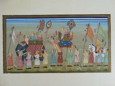 RARE 19thC Persian Hand Drawn Gouache manuscript Royal Procession nasta'liq