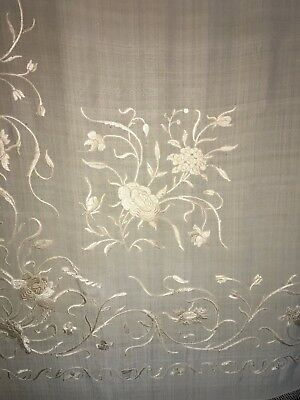 """Antique Canton Chinese Hand Embroidered Cream Silk Piano Shawl 60"""" + 9"""" Fringe"""