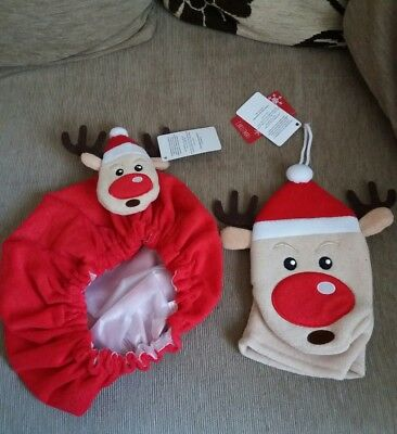Rudolph the red nised reindeer christmas shower cap and wash mit