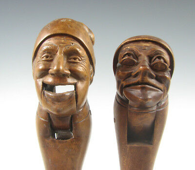 Two Vintage Black Forest Figural Nut Crackers Hand Carved Wood