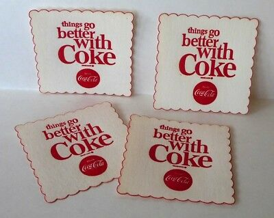 Set of 4 Things Go Better With Coke,  Coca Cola Coasters. Never Used!