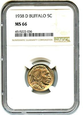1938-D Buffalo 5c NGC MS66 - Buffalo Nickel