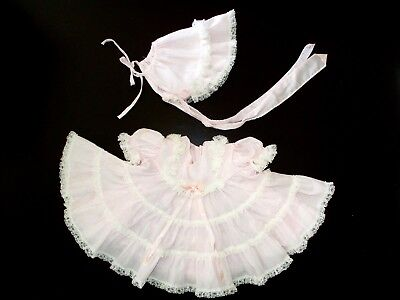 Vintage Baby/ Infant Girl Pink Frilly Lacy Dress & Bonnet by Bryan