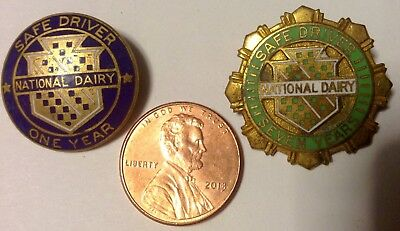 Two NATIONAL DAIRY SAFE DRIVER ONE YEAR & SEVEN YEAR SERVICE PINS enameled metal