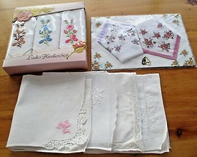 Collection Ladies Handkerchiefs- Incl. 2 Boxed Sets.