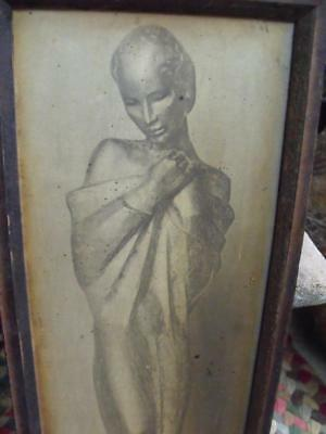 Haunting Small Rustic Primitive Vintage Framed Print of Pensive Woman