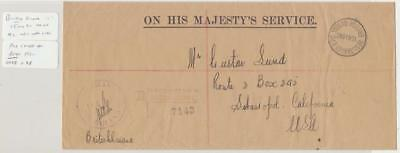 British Guiana 1940 Ohms+ Official Paid H/s Cover To Usa, Registered