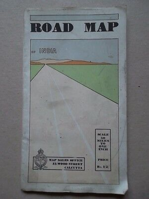 INDIA Road Map 1933 - survey of India - 50 miles to One Inch -Vintage Map 1930s