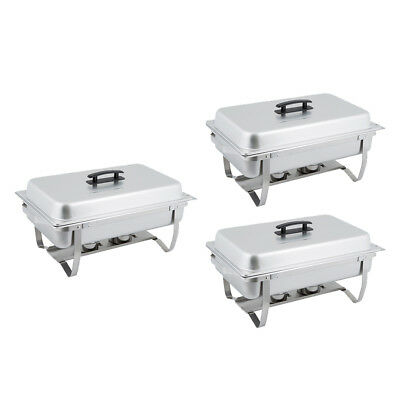 3 PACK 8 Qt. Stainless Steel Chafer Chafing Dish Set for Catering / Buffet