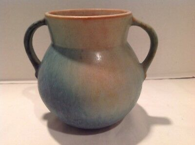 """Roseville Earlam Blue/Green/Tan Vase - 517 5.5"""" Tall Early, Arts And Crafts Era"""