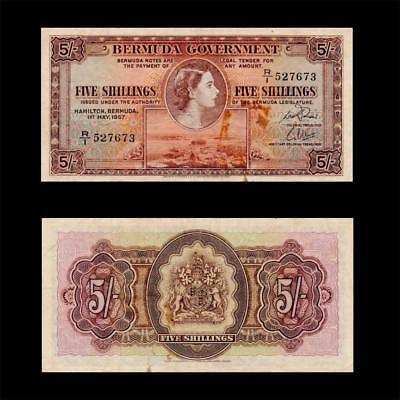 1957 British Colony Bermuda (Qe Ii) , 5 Shillings » Cv $150 «