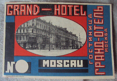 Grand Hotel Moscow USSR Luggage Baggage Label  c1930's A