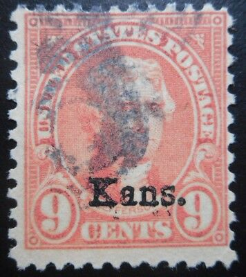 U.S.Stamp:Scott#667, 9c, light Rose, The Kansas Overprints, Series of 1929