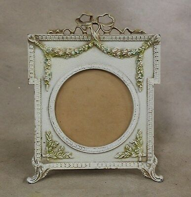 Antique Art Nouveau Iron Easel Back Photo Picture Frame Roses Swags & Ribbons