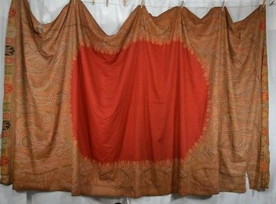 paisley shawl throw woven Civil War Era 61 x 127 repair cutter antique original
