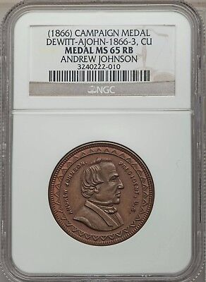 1866 Andrew Johnson Campaign Medal Dewitt-AJohn-1866-3 Copper - NGC MS 65 RB