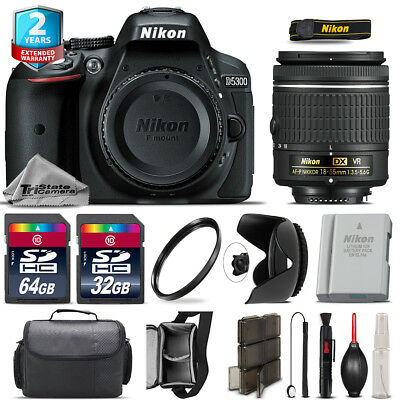 Nikon D5300 DSLR + AF-P 18-55mm VR Lens + Tulip Hood + Extra Battery - 96GB Kit