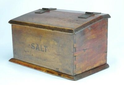 Large Antique Primitive Dovetailed Candle Box (marked salt) with Red/Brown Paint