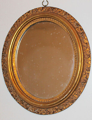 Antique Italian Borghese Gold Gilt Gesso Ornate Oval Mirror Frame