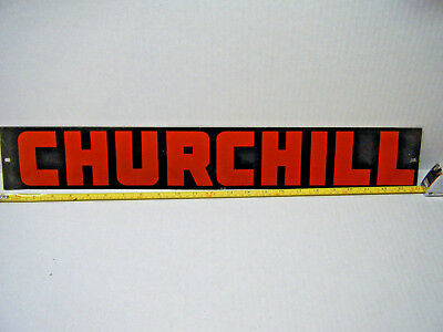 Vintage Churchill Oil Pump Jack Sign Drilling Rig Name Plate Oilfield 24''x3.5''