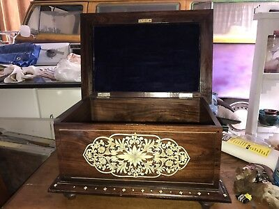 "Antique 19Th Century Mother Of Pearl Inlaid Anglo Indian Chest ""free Shipping"""