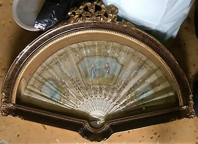 Antique 19 Th Century Lovers French Hand  Painted Framed  Fan Beautiful @@@@