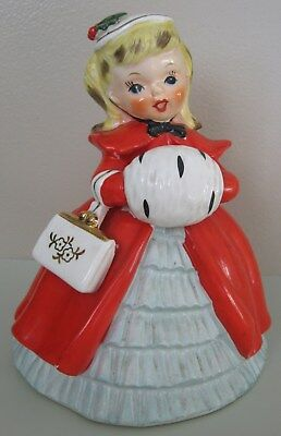 Vintage NAPCO Christmas Girl Planter, Red Coat, Purse, Muff, Beret 1956