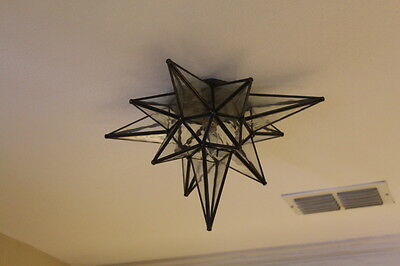 """Moravian Half Star CLEAR  WATER glass Ceiling Mounted 18"""" X 18"""" X 12"""""""