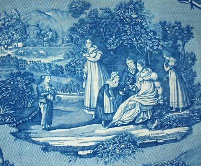 EXQUISITE 19th CENTURY FRENCH LINEN TOILE DE JOUY, THE FOUR SEASONS, SPRING
