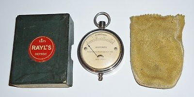 """VINTAGE EVEREADY AMMETER No. 1002 """"Pocket Watch"""" Style - ORIGINAL BAG AND BOX"""