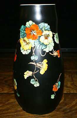 "Devon Ware Fieldings England Nasturtiums Pattern 9"" Black Based Vase"