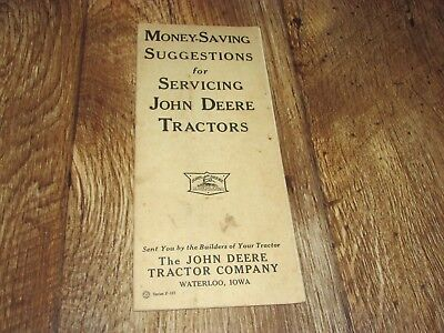 Vintage John Deere Money Saving Suggestions For Servicing Tractors Pamplet