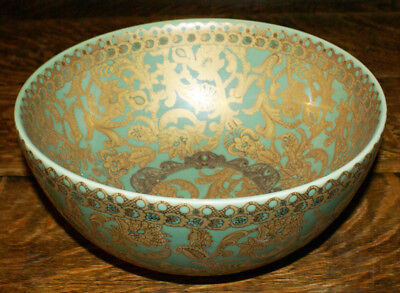 """Beautiful Jade Green and Gold Chinese Amita Large Decorated Bowl * 9.75"""" by 4.5"""""""