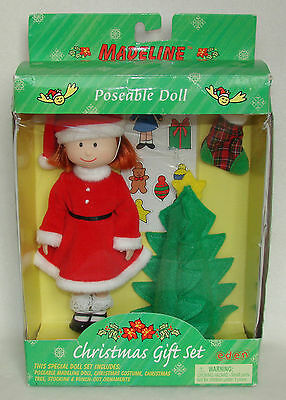 """Madeline 8"""" Doll Christmas Gift Set NEW Santa Outfit Tree Stocking"""