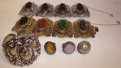 Lot of Vintage Whiting Davis Costume Jewelry 3 Large Bracelets & 3 Rings
