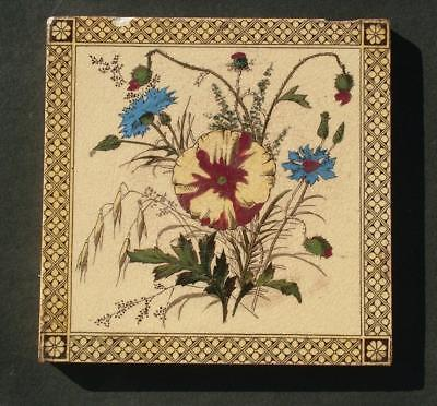 "VICTORIAN 6"" x 6"" GLAZED HANDPAINTED FLORAL TILE - LOT 3"