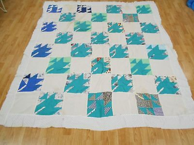 Vintage Antique HAND STITCHED FALL LEAF Quilt Top 81X73