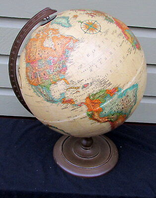 VINTAGE  1980's REPLOGLE 12 inch GLOBE World Classic with WOODEN STAND - USSR
