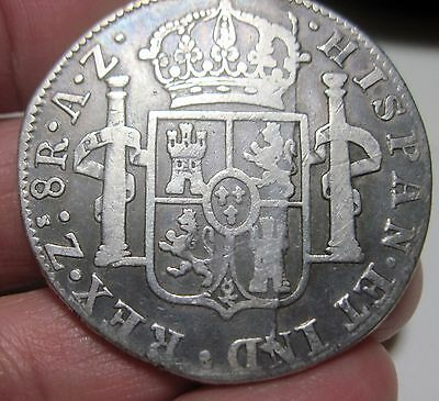 1821 AZ (MEXICO) 8 REALES (SILVER) ZACATECAS-- WAR of INDEPENDENCE--RARE-RARE-