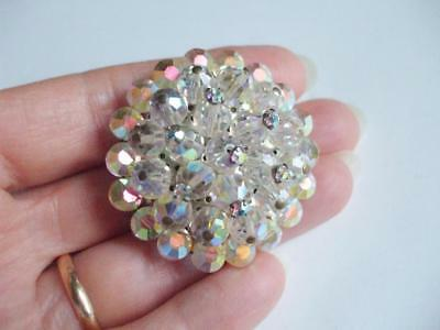 Lovely Vintage Domed Ab Glass Crystal Bead Pin W/clear Rhinestone Accents
