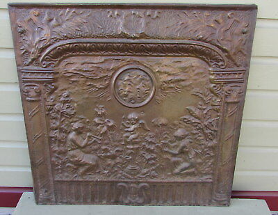 Antique Embossed Tin Fireplace Cover Screen Featuring  Cherub & Musicians 1800s
