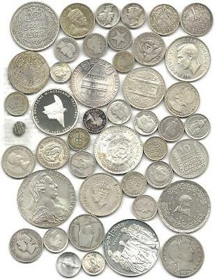 """World (45) Forty Five Old Silver Coins  #4310 """"great Big Lot & Free Usa Ship"""""""