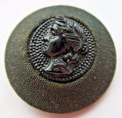 Lovely Antique~ Vtg Victorian Era Fabric BUTTON w/ Black GLASS Cameo & Pad Back