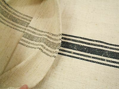 PERFECT Vtg Antique BLACK STRIPE HEMP LINEN Fabric FEED SACK GRAIN BAG 21X47