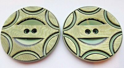 Fantastic Lot of 2 Matching X LARGE Vintage Art Deco Celluloid BUTTONS Carved